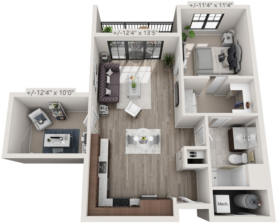 Apartment Floorplan with 1 Bedroom + Den, 15 Starbuck Drive, Green Island NY