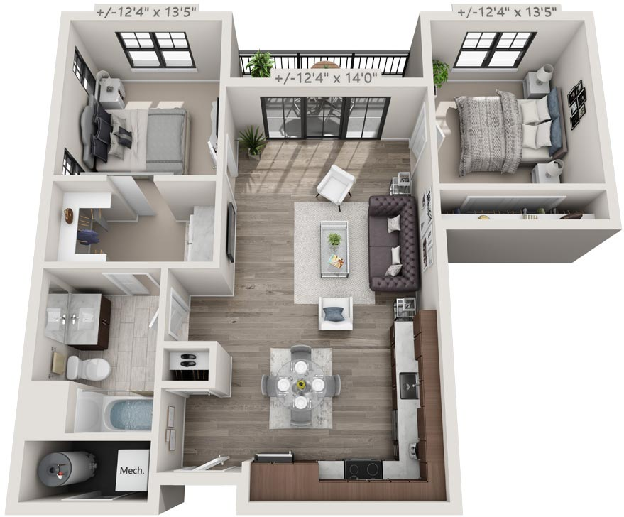 Floorplan Rendering: 2 Bedroom & 1 Bathroom Apartment, 15 Starbuck Drive, Green Island NY
