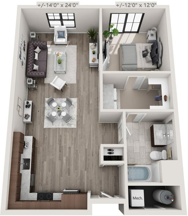 1 Bedroom & 1 Bathroom Apartment Floorplan, 25 Starbuck Drive, Green Island NY