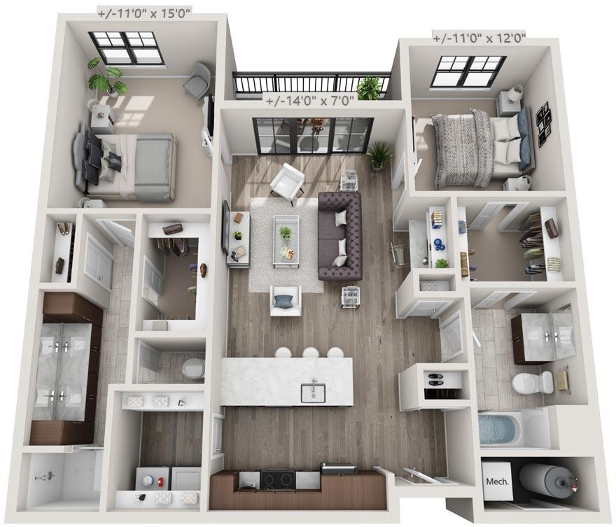 Floorplan Rendering: 2 Bedroon & 2 Bathroom Apartment, 25 Starbuck Drive, Green Island NY