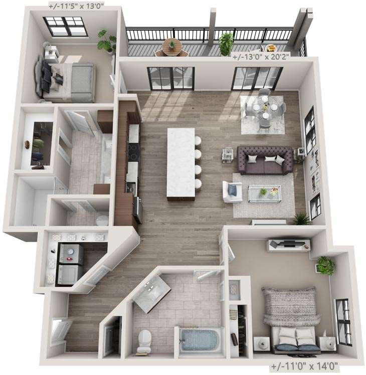 Floorplan: 2BR, 2BA apartment with balcony, 25 Starbuck Drive, Green Island NY