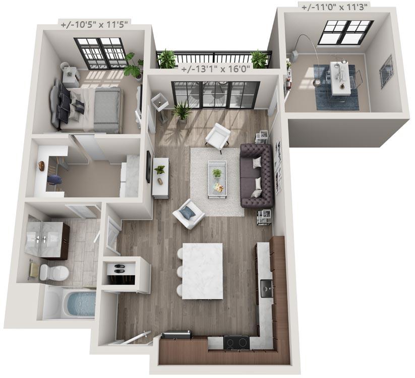 Floorplan: 1 Bedroom Apartment with Balcony, 25 Starbuck Drive, Green Island NY