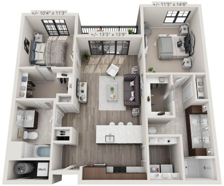 Melville A Floorplan, 2 bedroom, 2 bath apartment in Troy NY, 30 Starbuck Drive