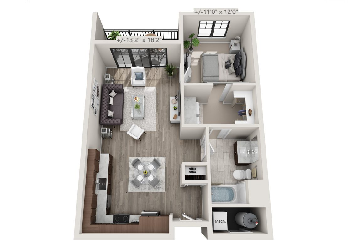 One bedroom with a small deck floorplan