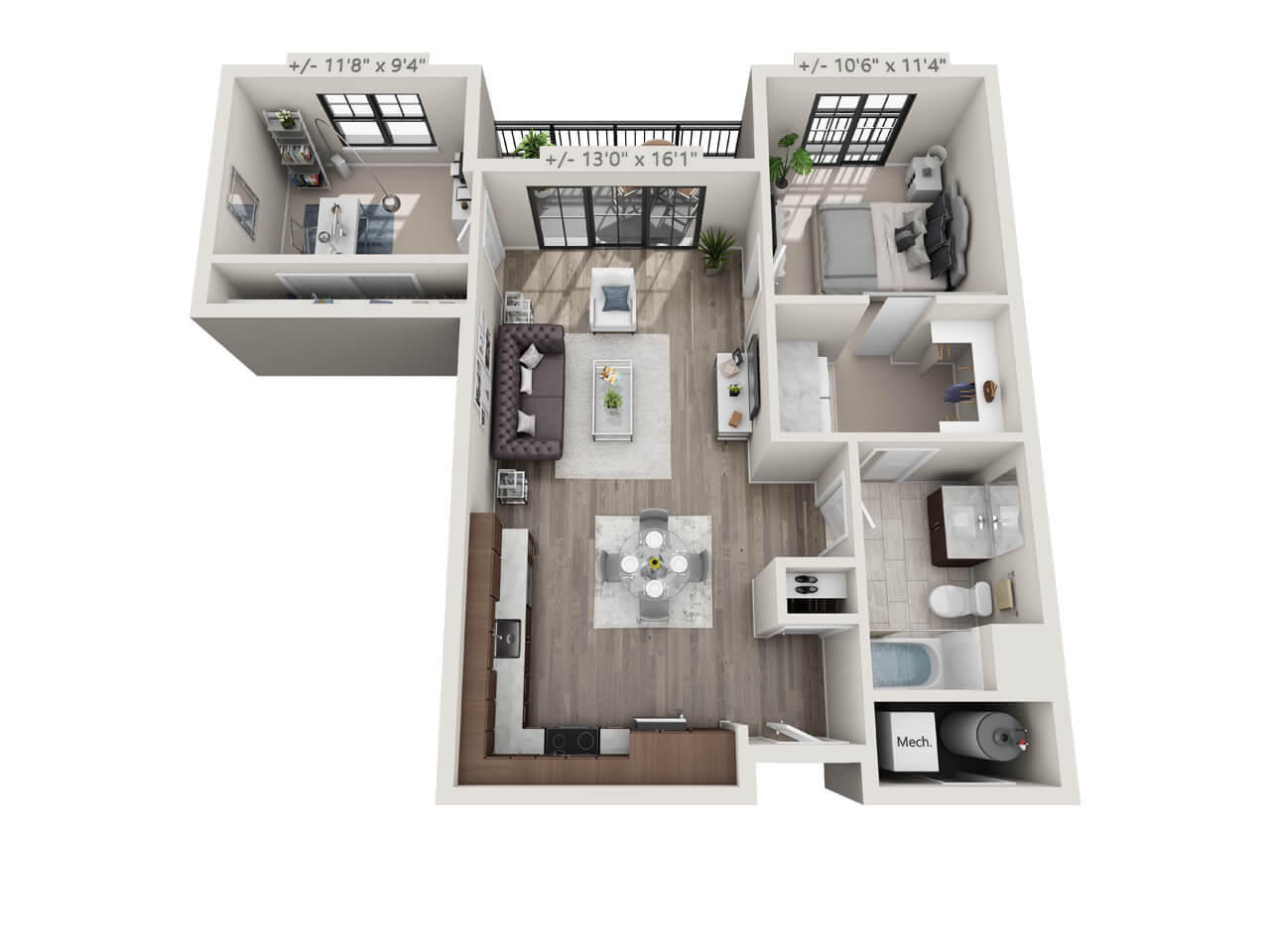 1 bedroom apartment in Troy NY, floorplan, Starbuck Luxury apartments
