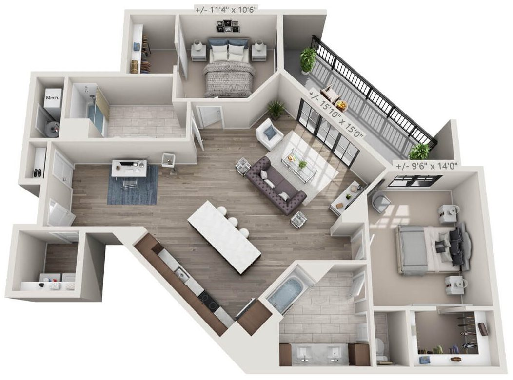 Rendering of a luxury corner unit, 2 BR, 2 BA apartment with balcony in Troy NY