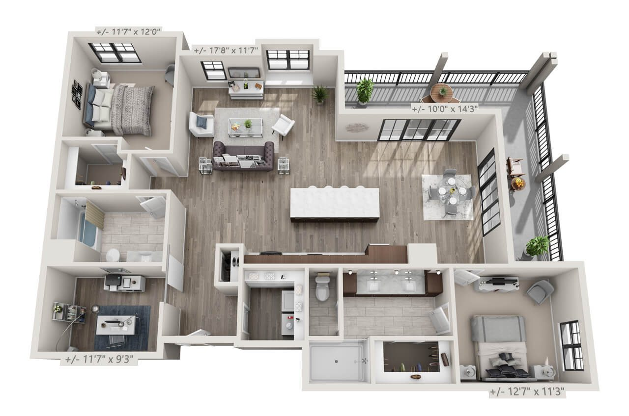 Floor Plan rendering of a 2BR, 2BA apartment with a corner balcony