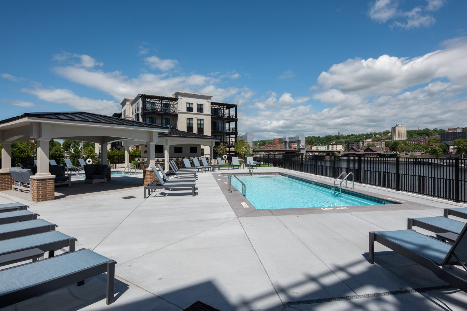 View of pool with Hudson River
